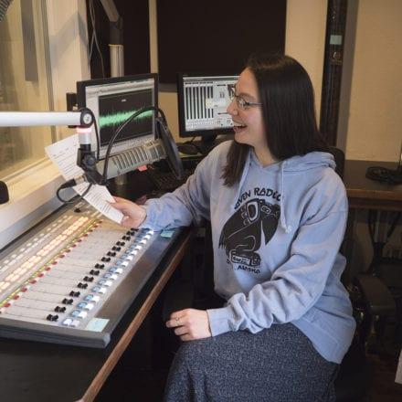 Reporter Emily Kwong in Classic Raven Sweatshirt in Atlantic Blue