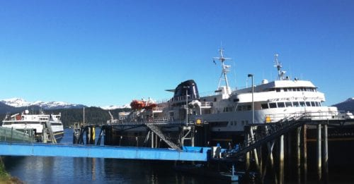 The ferries Matanuska, right, and Fairweather, left, dock at Juneau's Auke Bay terminal May 20, 2016. The larger ship is delayed in its return to service after an overhaul. (Photo by Ed Schoenfeld, CoastAlaska News)