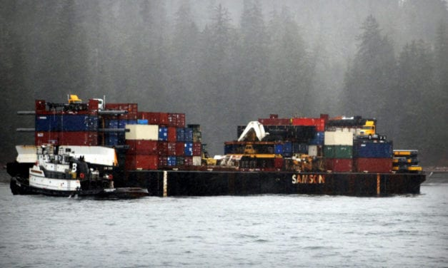 Fifteen gallons fuel spilled from tug, no damage to grounded barge