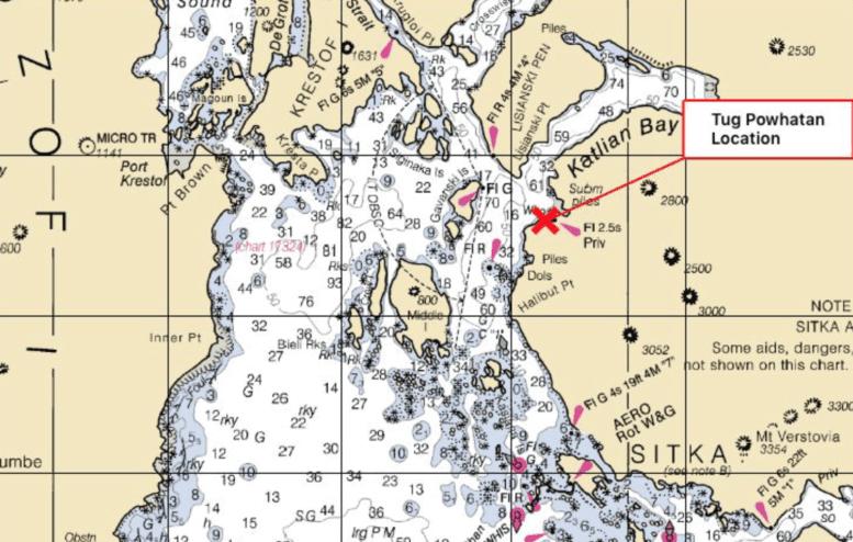Tug sinks in southeast Alaska; responders look for spill