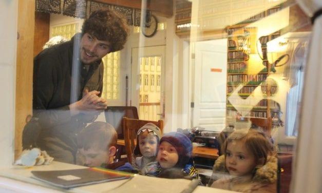 Preschoolers peek behind the radio curtain