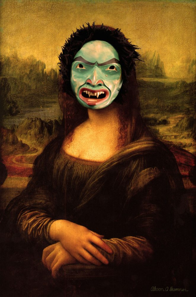"""Alison Marks' """"Mona Lisa Smile"""" (2014) combines a land otter mask with Leonardo DaVinci's famous portrait to represent """"the exclusion of Northwest Coast art from the canon of 'great art' in mainstream art history,"""" according to Marks' website. (Photo courtesy of Alison Marks"""
