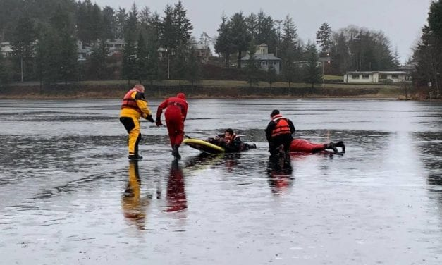 The CorvidEYE: Sitka Fire Department volunteers practice ice rescue on Swan Lake