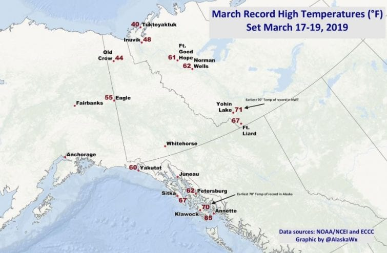 A map of Alaska showing record warm temperatures for March 17-19, 2019