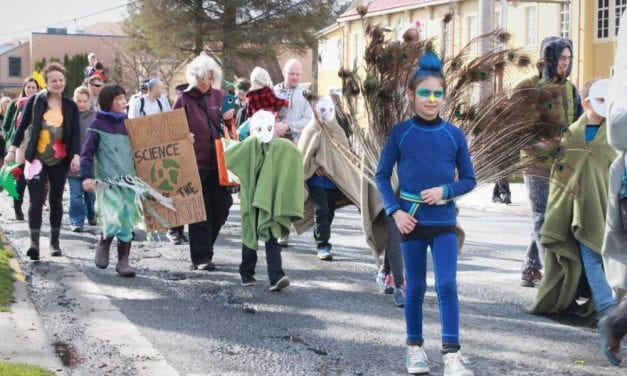 CorvidEYE: Sitka children flock, swim, scuttle in costume Earth Day parade