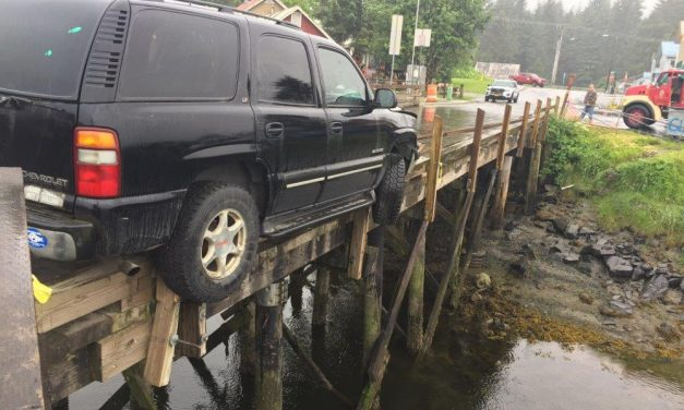 SUV nearly goes off bridge over Hammer Slough